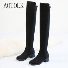 Long Boots Woman Winter Shoes Women High Boots Over The Knee Female Shoes Black Slip On Round Toe Casual Boots Female Boots DE winter fashion woman boots sexy knee high boots gold rivets round toe botas high heels long boots women casual shoes