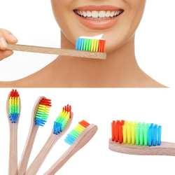 1 шт красочные головы бамбука Зубная щётка оптовая продажа Защита окружающей среды деревянный Радуга бамбука Зубная щётка мягкой щетиной