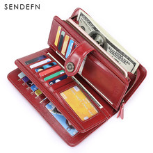 SENDEFN TOP Women Clutch Leather Wallet Female Hasp Long Wallet Women Zipper Purse Strap Money Bag Purse For iPhone 7-8 5216-5(China)