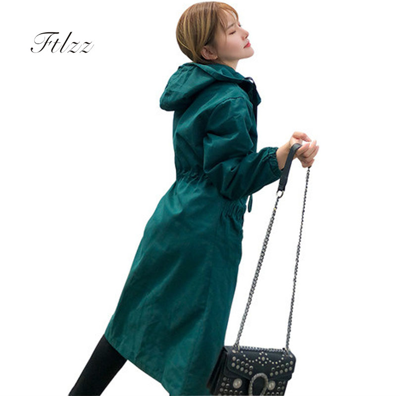 Spring Autumn 2018 New Women Loose Harajuku Windbreaker Long Sleeve Hooded Casual Plus Size Medium Long Trench Coats Casacas