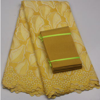 Hot Selling Yellow Factory Price African Swiss Voile Lace High Quality 100% Cotton Lace Fabric For Evening Women Dress GD661B-3