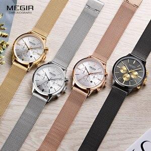 Image 4 - Megir 女性のクロノグラフ鋼クォーツ時計ファッション防水発光 24 時間アナログ腕時計女性のための 2011L 1N3