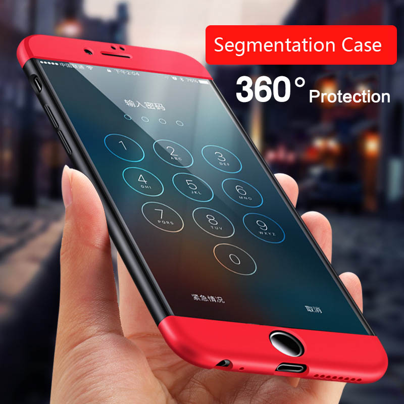 Fashion Design 360 Degree Full Protection Segmentation PC Shockproof Case Cover for iPhone 6 7 Plus for Samsung Galaxy S8 Plus
