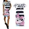 2016 Hot Sale New Fashion Women Summer Short Sleeve Slim Bodycon Cartoon Mouse Letter Print Sexy Mini Dress Vestido Curto Cortos