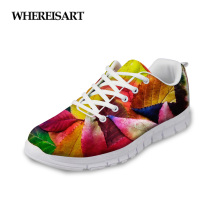 WHEREISART Women Shoes 2019 New Spring Maple Leaf Printing Female Sneakers Breathable Mesh Ladies Flats Walking Zapatos de Mujer