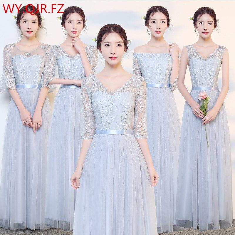 JYLF43D#Grey V collar long elastic waist   Bridesmaid     Dresses   wedding party prom   dress   2019 sister group wholesale women clothing
