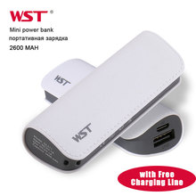 WST Mini Power Bank Portable Charging Battery External Batteries for Samsung iPhone Mobile Powerbank USB Ports Batteries Charger cheap Plastic for Tablet for Camera for Smartphone 18650 Lithium Battery Waterproof Charger Battery in 1 2600-4999mAh L90*W33*H22
