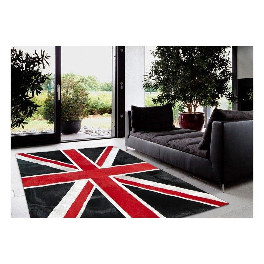 Moderne peau de vache patchwork tapis RF-B07 arborant l'union Jack drapeau dans un design coloré rouge/noir/gris