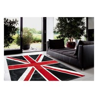 modern cowhide patchwork rug RF B07 sporting the Union Jack flag in a colorful design red/black/grey