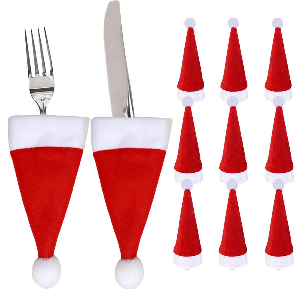 4Pcs Christmas Snowflake Kitchen Tableware Pocket Dinner Cutlery Bag Red