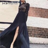 TWOTWINSTYLE תחרה סקסית שרוול נשיפה נשי שמלת טוניקה גבוהה מותן פיצול שחור Midi שמלות קפלים 2018 אביב בגדי אופנה