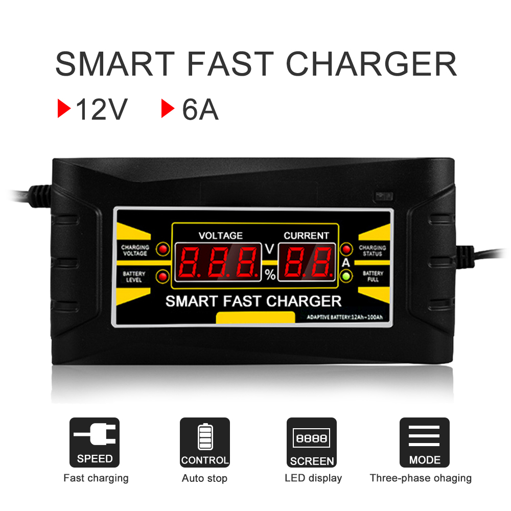 Full Automatic Car Battery Charger 110V/220V To 12V 6A 10A Smart Fast Power Charging For Wet Dry Lead Acid LCD Display US Plug