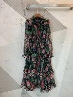 2019 новые винтажные шелковые платья с принтом 1 цвет 3 размера Женская одежда
