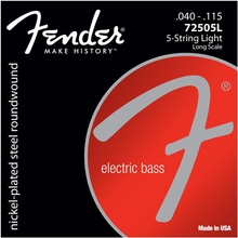Fender 7250 Nickel Plated Steel Long Scale Bass Guitar Strings, 5-string and 6-strings for Bass 72505L 72505M 72506M