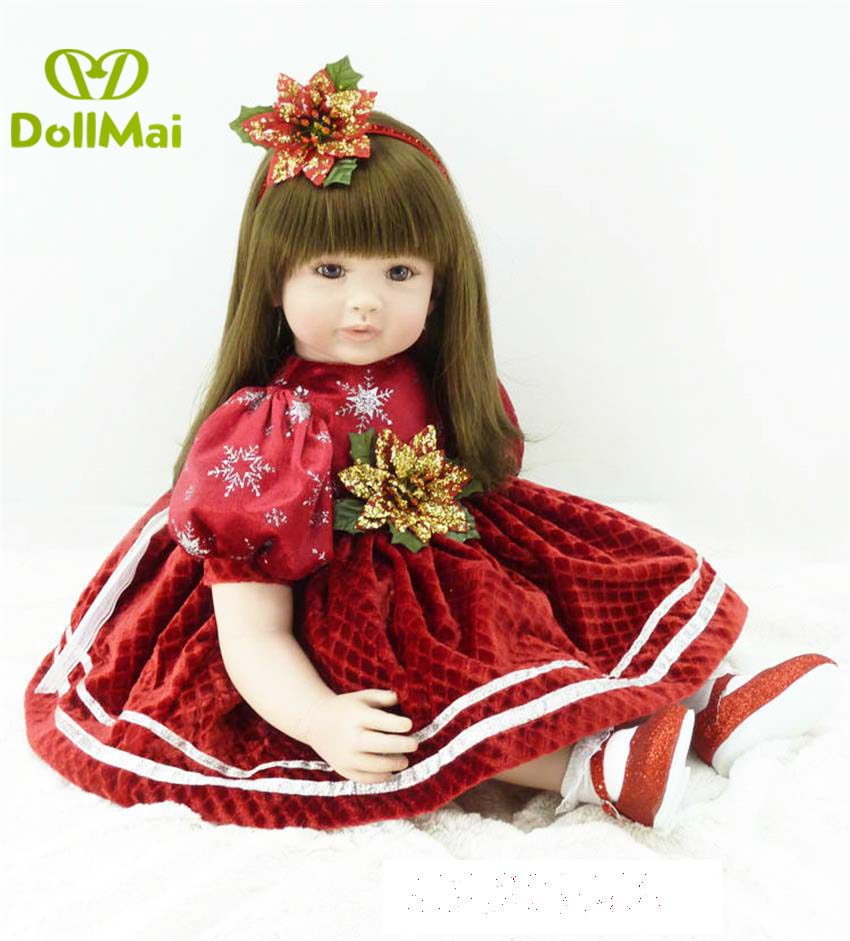 2460cm reborn babies silicone bebe alive red fairy dress high quality  princess toddler dolls for children best birthday gift2460cm reborn babies silicone bebe alive red fairy dress high quality  princess toddler dolls for children best birthday gift
