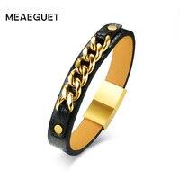Meaeguet Unique High Quality Black Pu Leather Bracelet Hiphop Handmade Chain Charm Bracelet Bangle Men Jewelry