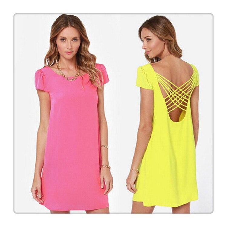 ᗕRosa y amarillo sexy ahueca hacia fuera vestido de gasa para las ...