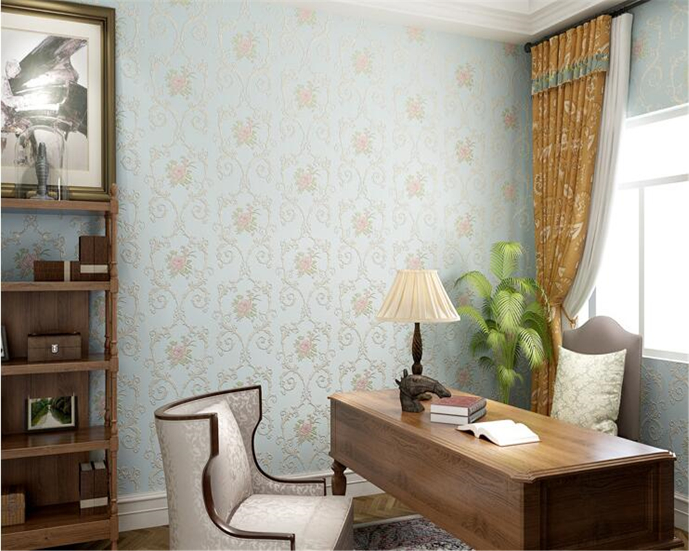 beibehang papel de parede wallpaper Fine fashion nonwovens classic TV bedroom background wall pastoral flowers 3d wallpaper in Wallpapers from Home Improvement