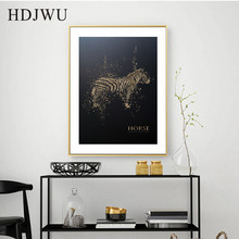 Nordic Creative Black Gold Carved Steed Animal Decoration Painting Wall Poster for Living Room Hotel DJ278