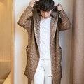 Siriusha Plus Size outono e inverno camisola masculino pequeno fresco cardigan projeto longa camisola solta de espessura