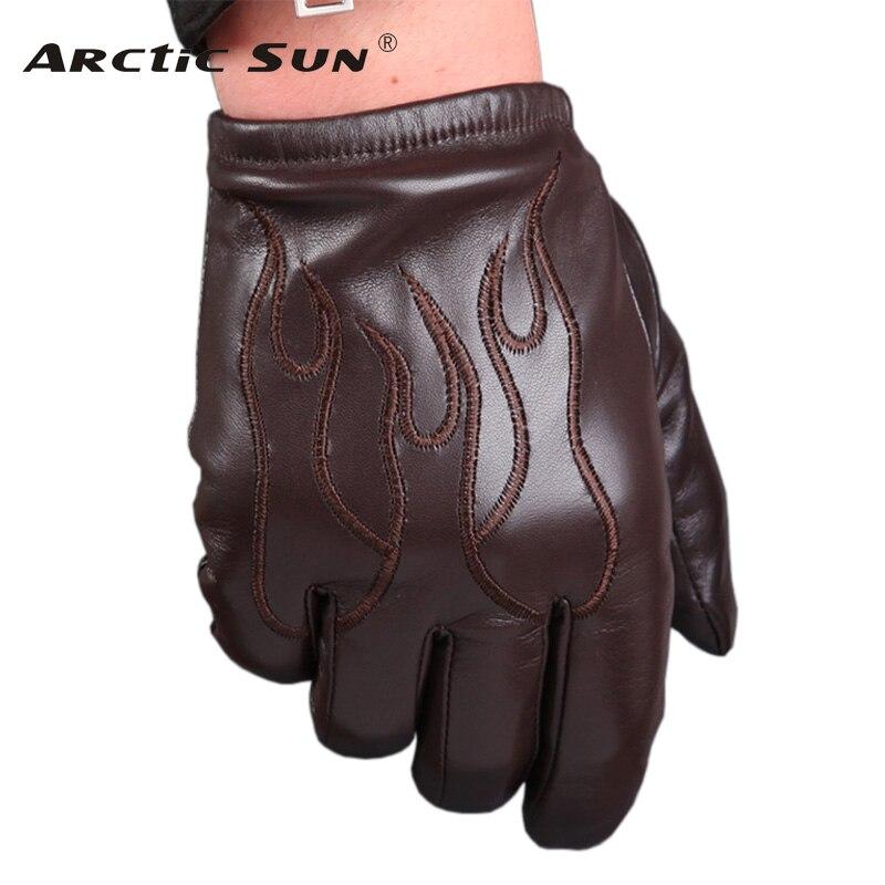 Gants hommes en peau de mouton homme automne hiver Plus velours épaissir chaud en cuir véritable écran tactile gants moto M050NC2
