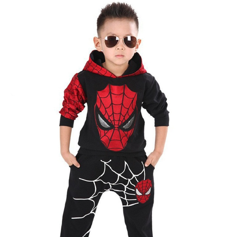 Baby <font><b>Boys</b></font> <font><b>Spring</b></font> <font><b>Autumn</b></font> <font><b>Spiderman</b></font> <font><b>Sports</b></font> <font><b>suit</b></font> <font><b>2</b></font> <font><b>pieces</b></font> set Tracksuits Kids Clothing sets 100-140cm Casual clothes Coat+Pant