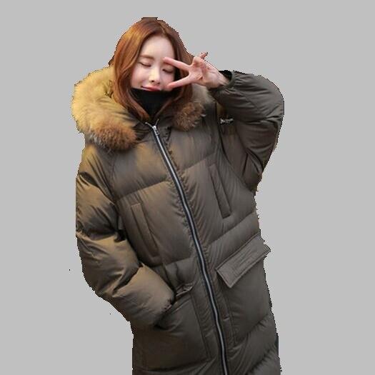 Women Winter Coat 2017 Korean Hooded Big Fur Collar Down Jacket Fashion Medium length Cotton Coat