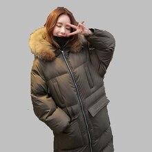 Женщины Зимнее Пальто 2017 Корейский Капюшоном Большой Меховой Воротник Пуховик Мода Средней длины Пальто Хлопка Большой размер Толстый куртка AB351