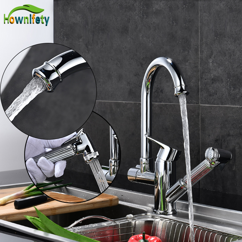 цена на Solid Brass Kitchen Faucet Chrome Polish/Brused Nickle Pull Out Swivel Spout Mixer Tap Deck Mount Sink Mixer Tap Pull Down Spray
