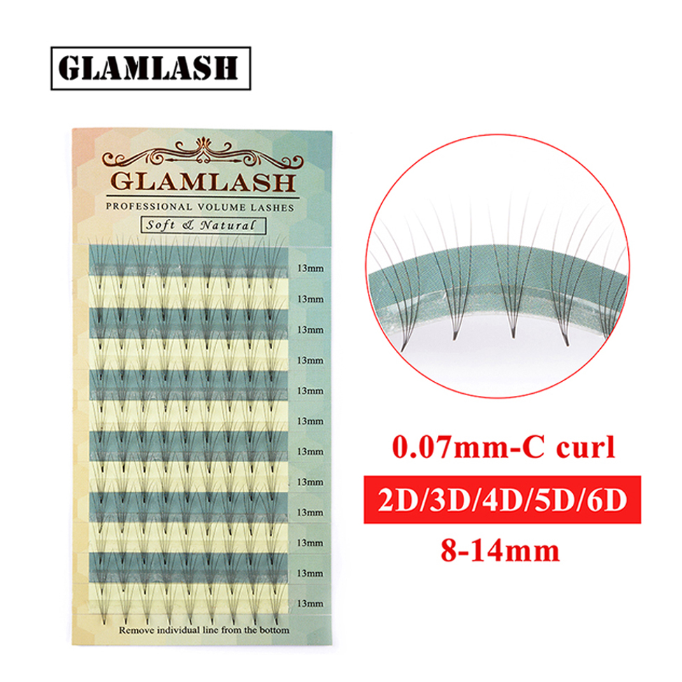 GLAMLASH 2D 3D 4D 5D 6D 0.07 Thickness High Quality Individual Premade Volume Fans Russian Lashes Eyelash Extension