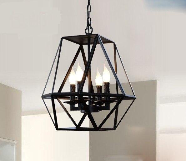 Industry wind iron pendant light retro cafe bar antique iron cage creative glass candlestick apartment villa
