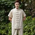 New Arrival Chinese Men Kung Fu Shirt Short Sleeve Kung Fu Cotton Linen Shirt Clothing Tops M L XL XXL XXXL W18