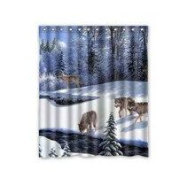 Hot Sale Custom Wolves Wolf Fashion Home Living Waterproof Bathroom Decor  Shower Curtain 150x180cm FREE SHIPPING U08 43