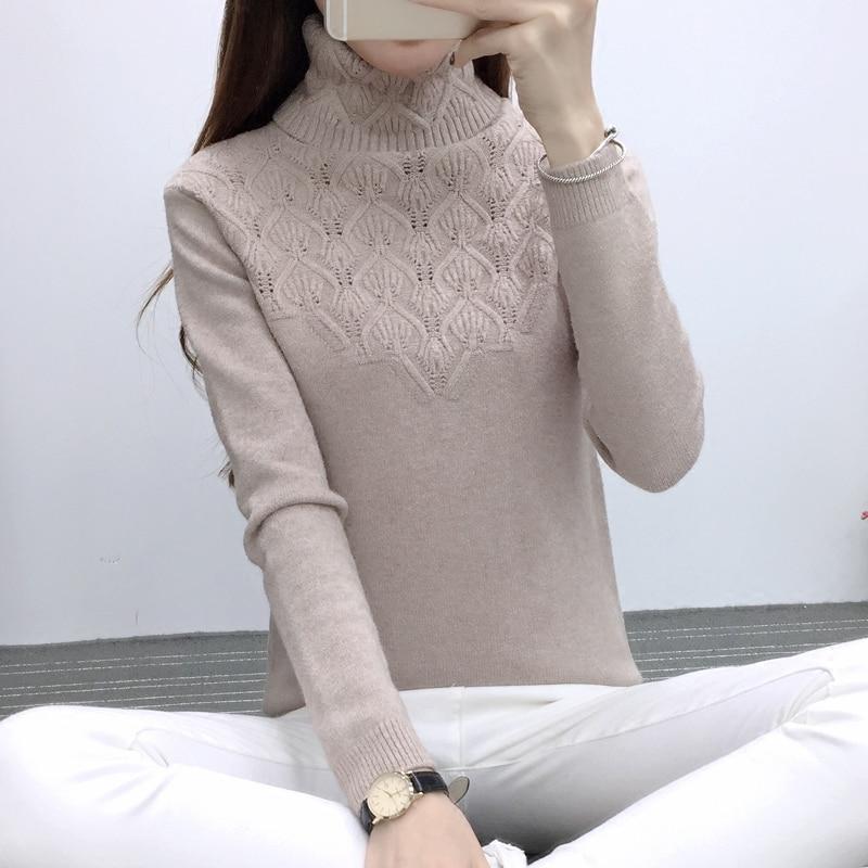 2019 New Winter Women's Head Sweater Female Head Sleeve Slim Turtleneck Sweater Blouse Shirt