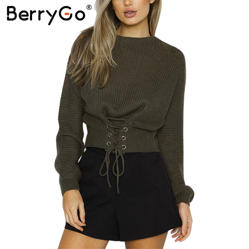 882bc8b838 Detail Feedback Questions about BerryGo Lace up waistband knitted pullover  sweater Women black warm long sleeve jumper Autumn winter 2017 knitting pull  ...