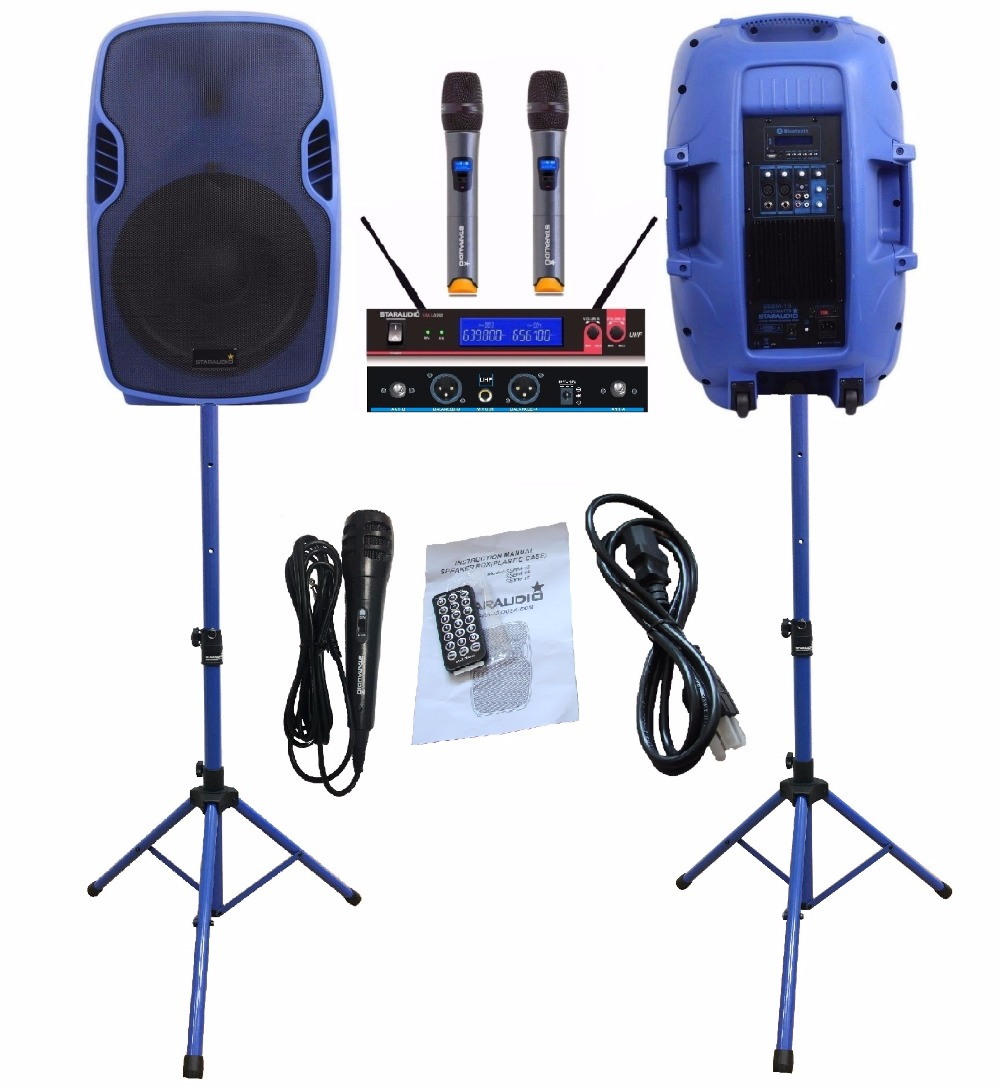 STARAUDIO SSBM-15RGB Pair Blue 15 3500W Power Active DJ Stage USB SD FM BT Stage Speakers W/ 2CH UHF Mic Stands 2 Wired Mic