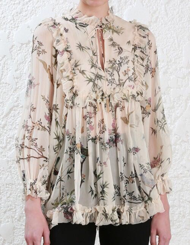 Office Women Blouse Tassel Tie Up Silk Blouse Floral Print Office Ladies Tops Sexy Puff Long Sleeve Silk Luxurious Shirts