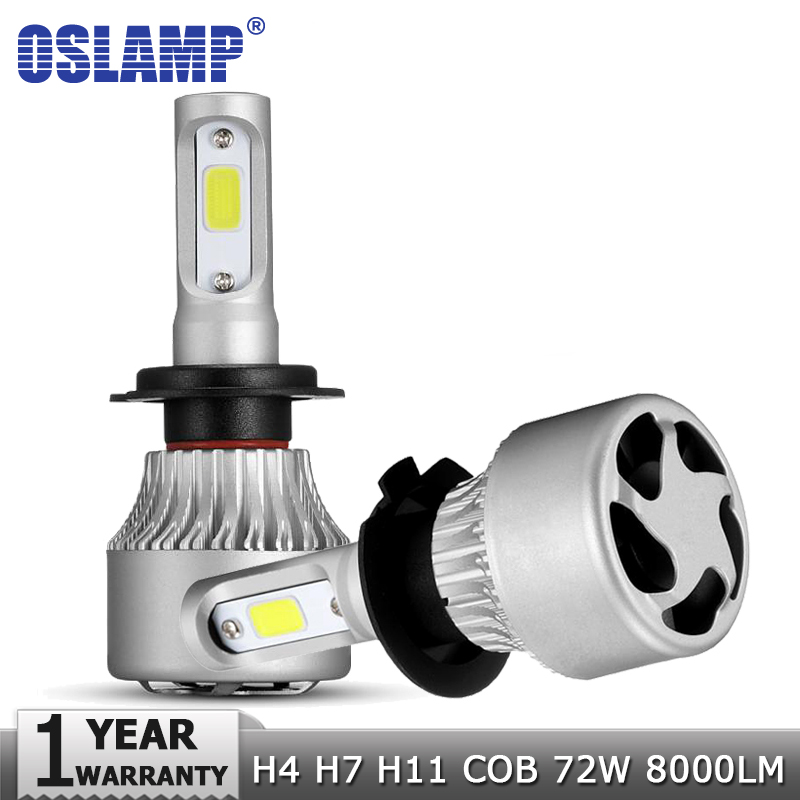 Oslamp H4 H7 H11 9005 9006 COB LED Car Headlight Bulbs Lamp 72W Hi-Lo Beam 8000LM 6500K Auto Led Headlamp Fog Light Bulb 12v 24v skyjoyce mini led projector lens h4 led headlight bulbs led conversion kit h4 led bulb light lamp hi lo beam headlight lhd h4