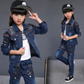 Spring fall Style children clothing set Denim jacket + Jean pant 3 piece set For Kids Wear to 2 4 6 8 10 12 Year TZ06