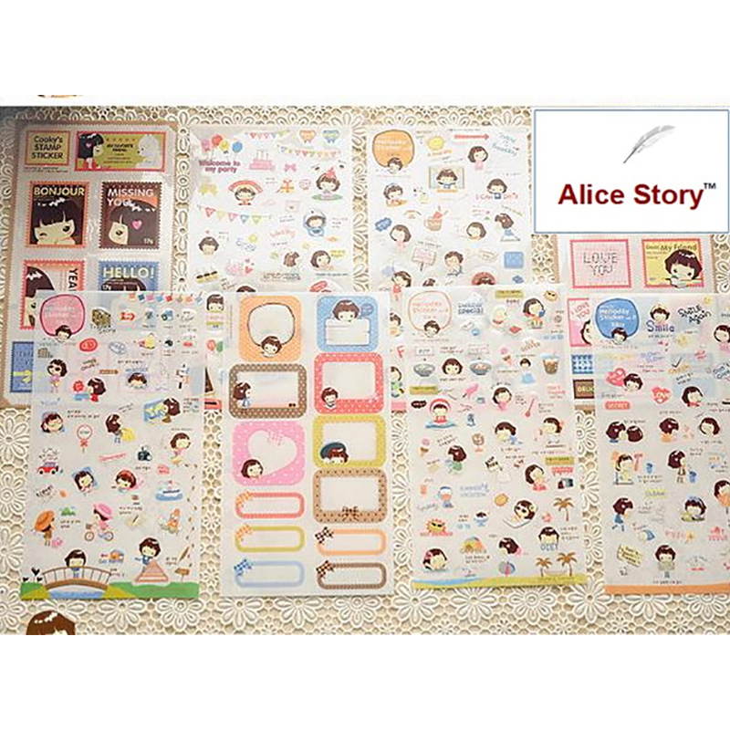 Cute Kawaii cooky girl ver.2 diary notebook planner stickers travel journal  PVC stickers home deco stickers label 8 pcs/pack aileendoll rot ver 2 dangon