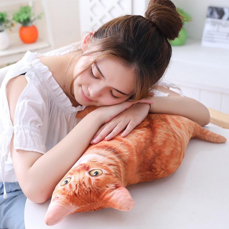 HTB1QqLPbBOD3KVjSZFFq6An9pXab LREA New 50CM cojines Plush Toy Cute Expression Simulation Cat Pillow Bedroom Sofa Decorations Cushion