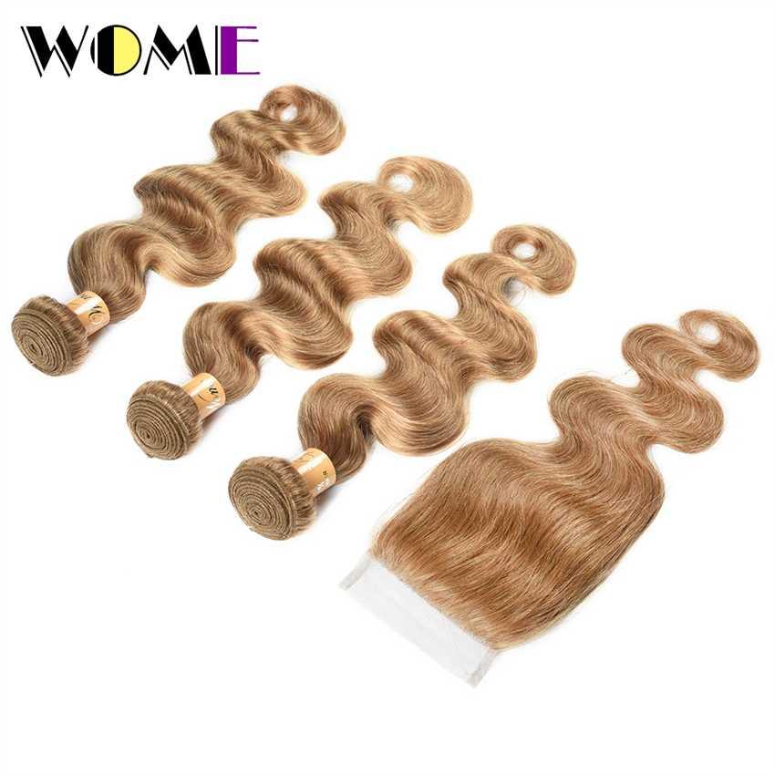 """Wome бразильские тела волна натуральные волосы Weave 3 Связки с закрытием #27 медовый блондин Цвет волос двойной уток 10 """"-дюймов 24 дюймов не Реми"""
