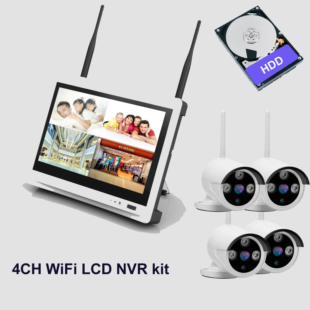 4ch Outdoor Day night security ip camera system 2MP 1080P WiFi wireless NVR kit with 12.5 inch LCD Screen Surveillance DVR Kit