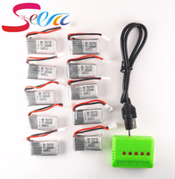 10pcs 3 7V 260mAh Lipo Battery With X5 5in1 Green Charger For JJRC H8 Mini Eachine