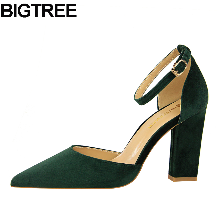 7cd0cef738c9af BIGTREE Women High Heels Flock Ankle Strap Buckle Pumps Thick Square Block  Heels Pointy Toe D orsay Cut Out Sandals Shoes Woman
