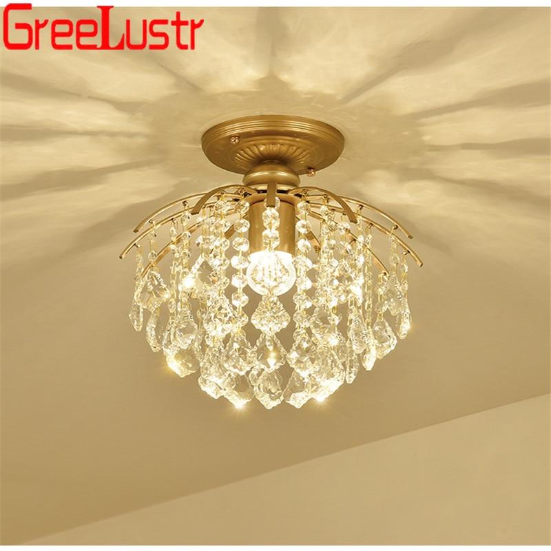 American Crystal Led Chandelier Ceiling lamp Vintage Gold Chandeliers Pendant Lamp E27 Hanging Lamp for Bedroom light Fixtures