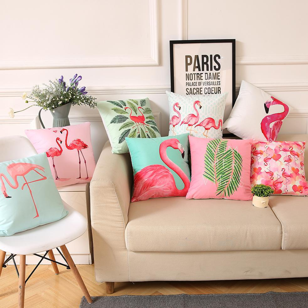 Manufacturers Wholesale Customized Nordic Style Leaf Plants Birds Flamingo Tropical Pillow Summer Palm Leaf Cushion For Sofas