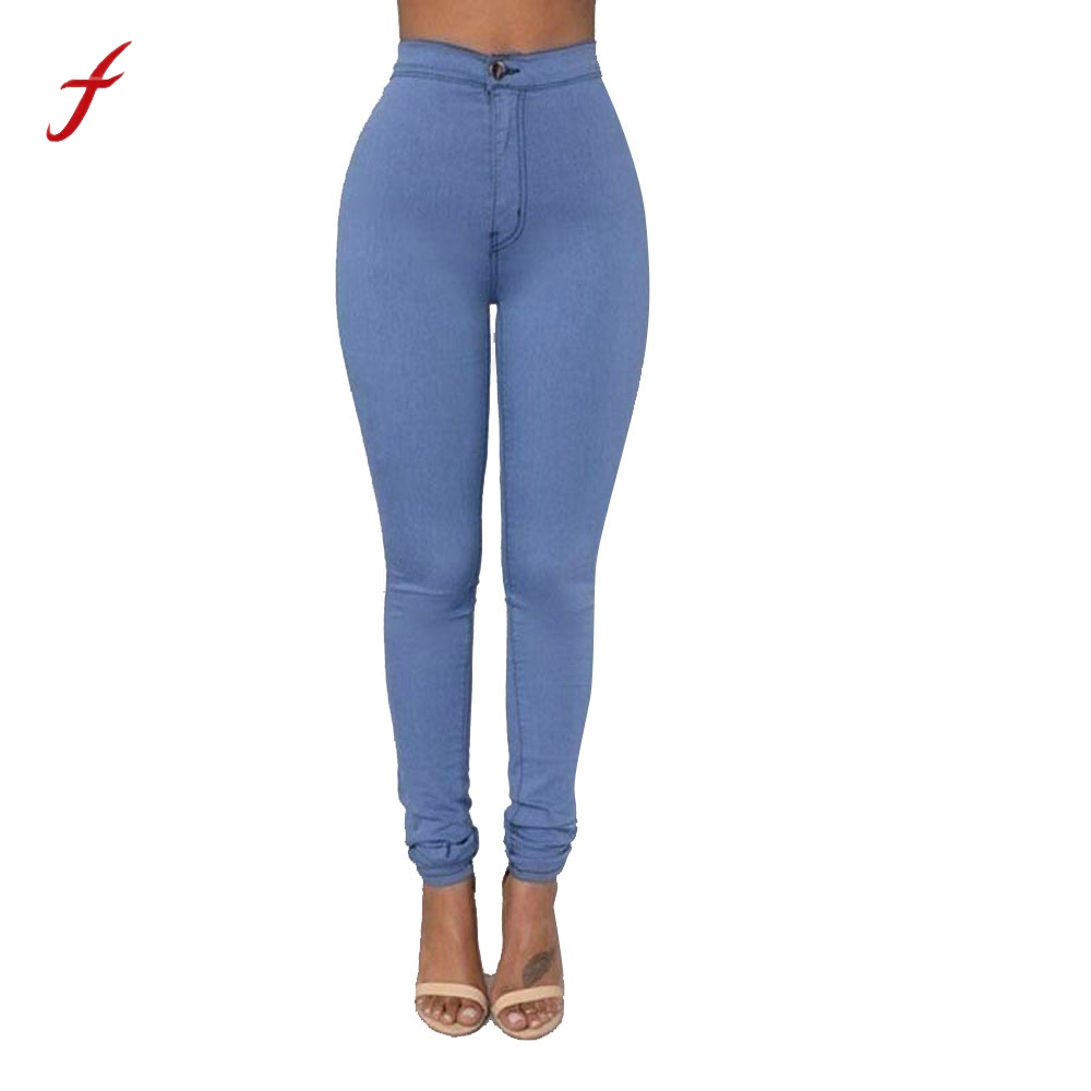 Feitong Women High Waist Denim Jeans Pants 2018 Fashion Multi Colors Girl Casual Skinny Jeans ...