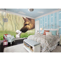 Custom Any Size Mural Wallpaper Wall Mural Wall Paper Painting Forest Fox Small Animal