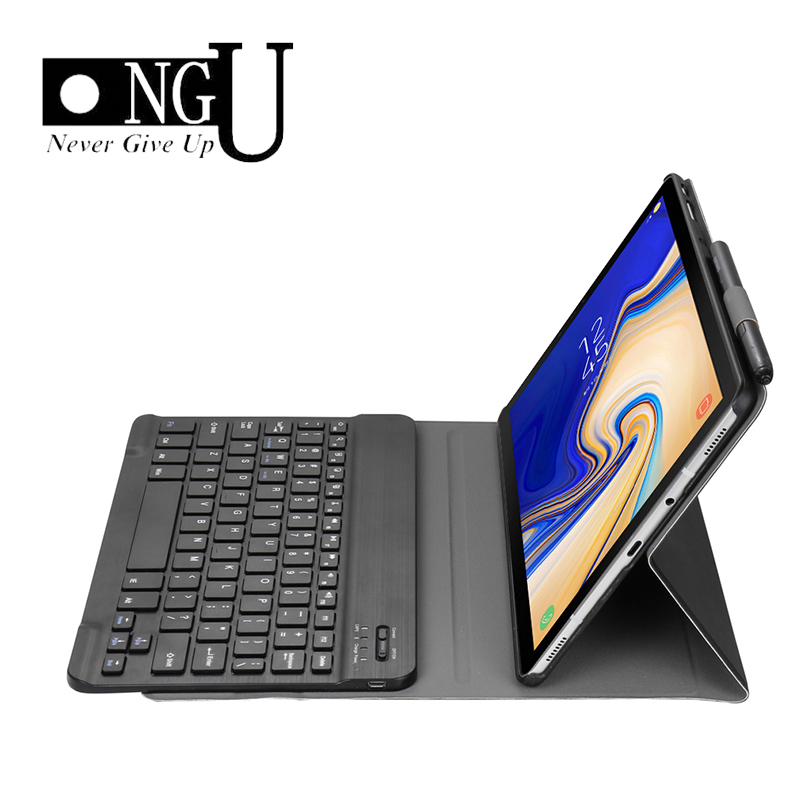 Ultra-thin Tablet Case For Samsung Galaxy <font><b>Tab</b></font> <font><b>S4</b></font> 10.5 T830 T835 Detachable Bluetooth <font><b>Keyboard</b></font> Case PU Leather Cover Stand image